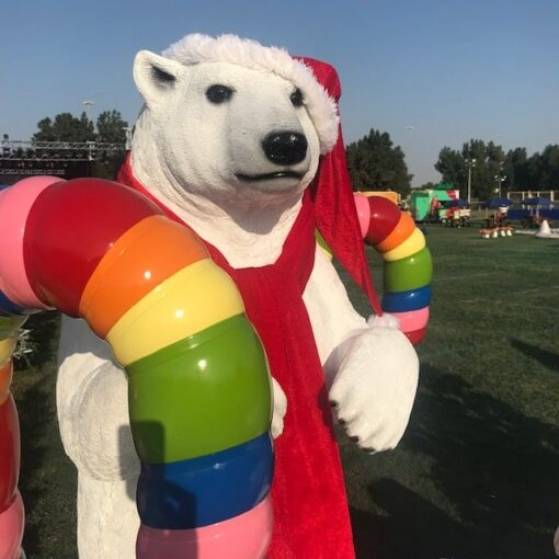 Christmas Festive Polar Bear Standing Candy Cane Props