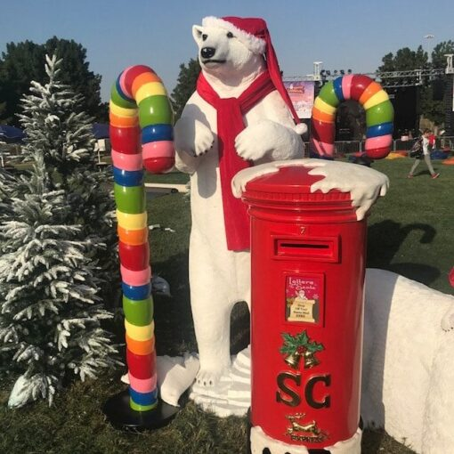 Christmas Festive Santa's Mailbox Polar Bear Standing Candy Cane Props Event