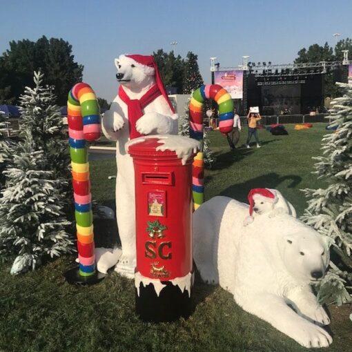 Christmas Festive Santa's Mailbox Polar Bear Candy Cane Props