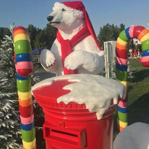 Christmas Festive Santa's Mailbox Polar Bear Standing Candy Cane Props
